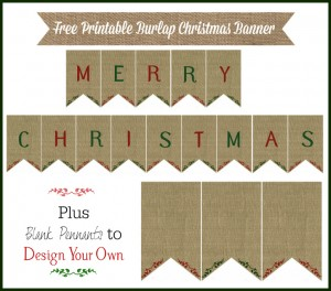 Burlap Christmas Banner Printable – 12 Days of Christmas {Day 8}