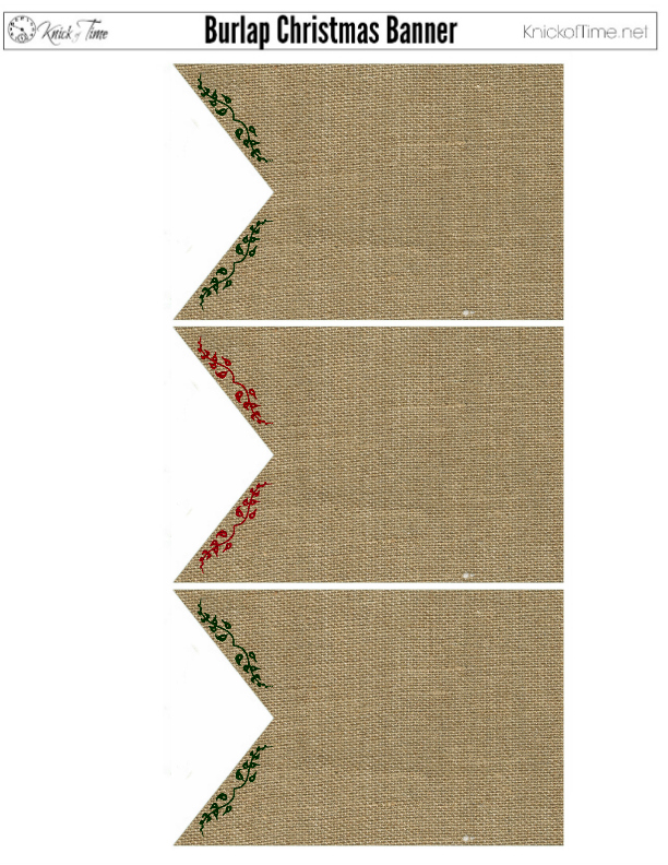 Christmas Banner Printable Burlap