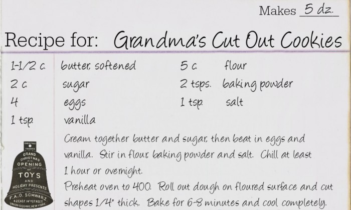 Cut Out Cookie Recipe Card
