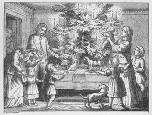 1900's Family Christmas Scene Illustration