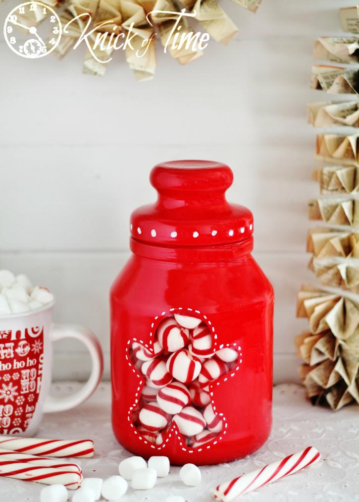 Upcycled Painted Christmas Jar