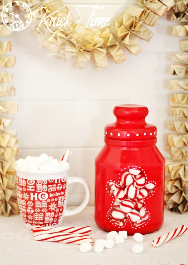 Gingerbread Man Christmas Painted Jar