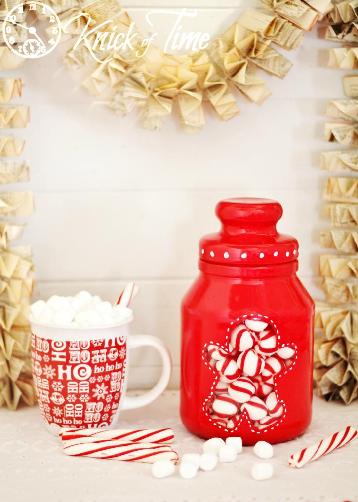 Gingerbread Man Christmas Painted Jar
