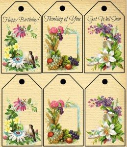 Printable Greeting Tags with Antique Floral Images