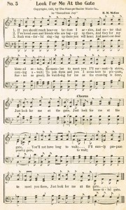 Sonday – {Look for Me at the Gate} Antique Hymn Page Printable