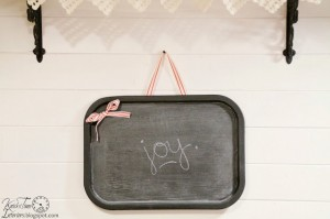 Repurposed Serving Tray into Magnetic Wall Chalkboard