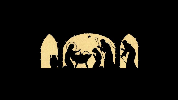 photo about Free Printable Silhouette of Nativity Scene identified as Nativity Silhouette Candle Holder - 12 Times of Xmas