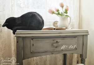 French Script Desk with Blue Minerals Chalk and Clay Paint Powder
