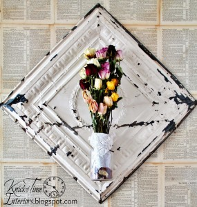 Antique Ceiling Tile Dried Flower Display