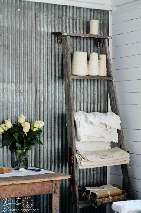 Repurposed Ladder Shelf via Knick of Time @ knickoftimeinteriors.blogspot.com
