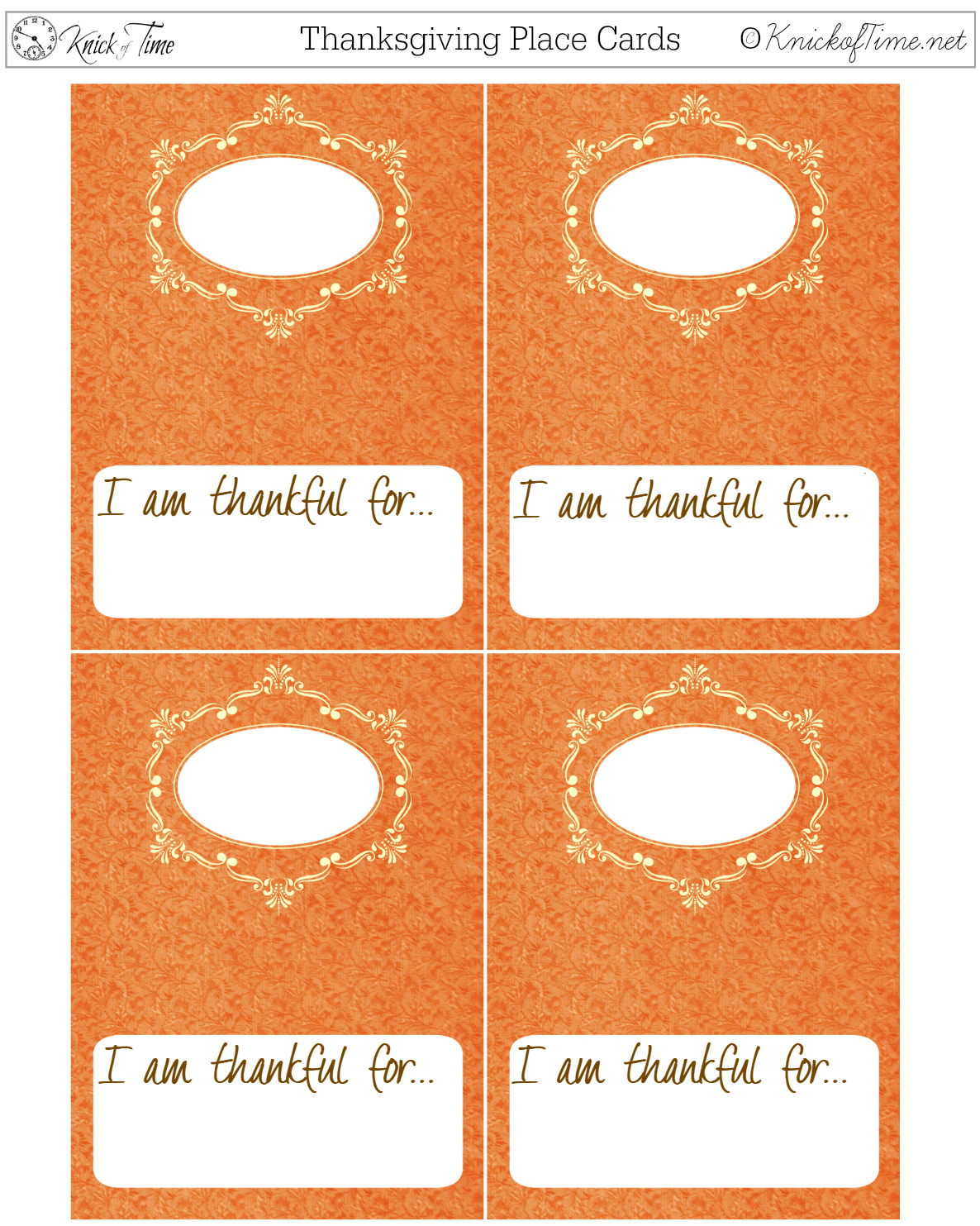 photo about Thanksgiving Place Cards Printable identified as Thanksgiving Printable Desired destination Playing cards Knick of Period