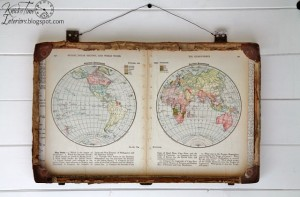 World Travels – Repurposed Antique Suitcase & Map Pages Mixed Media Wall Art