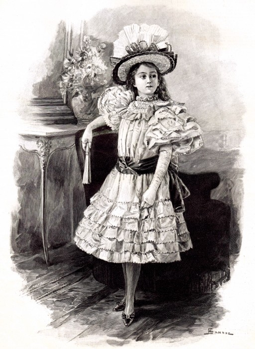 Victorian Little Girl in Fancy Dress