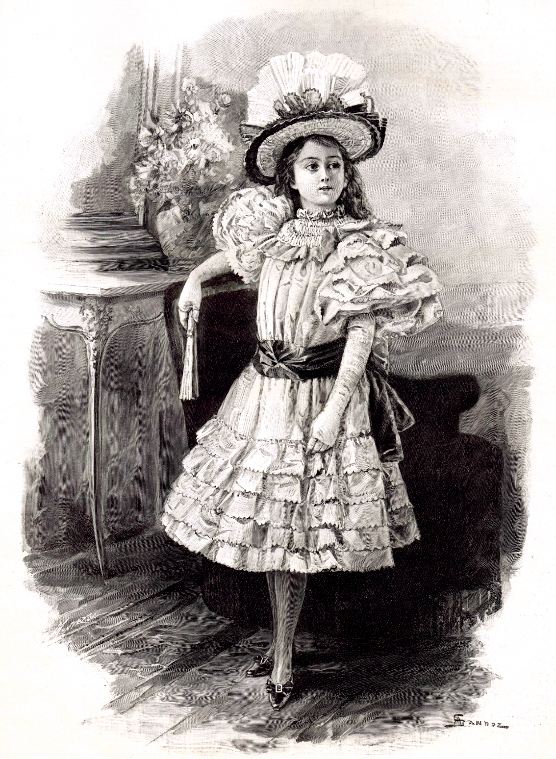 Victorian Little Girl In A Fancy Dress - Instant Art Printable - Knick Of Time