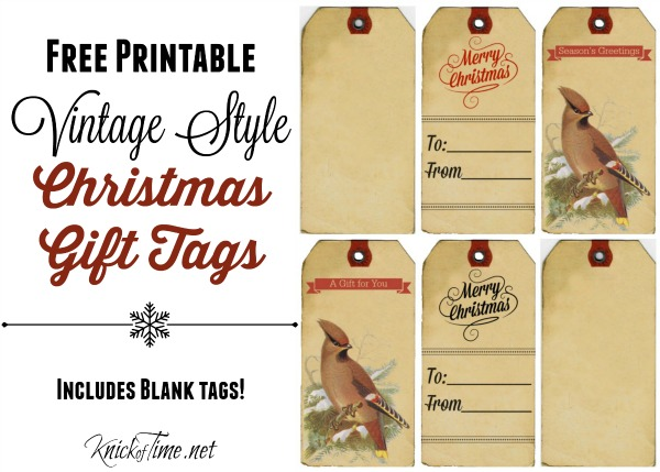 CLICK Here To Print These 6 Vintage Christmas Gift Tags