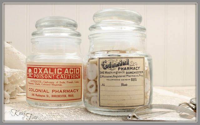 Repurpose small candle jars into vintage style apothecary jars with free vintage printables - KnickofTime.net