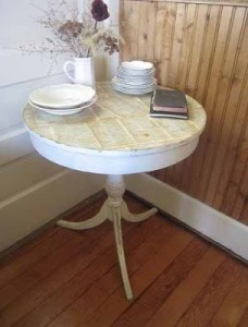 One of My First Furniture Projects – Vintage Drum Table with Antique Bible Page Top