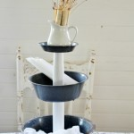 enamelware tiered stand