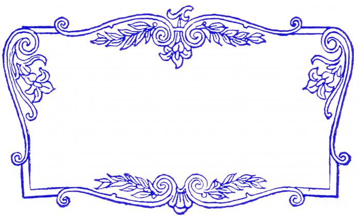 fancy scrolled frame blue clip art