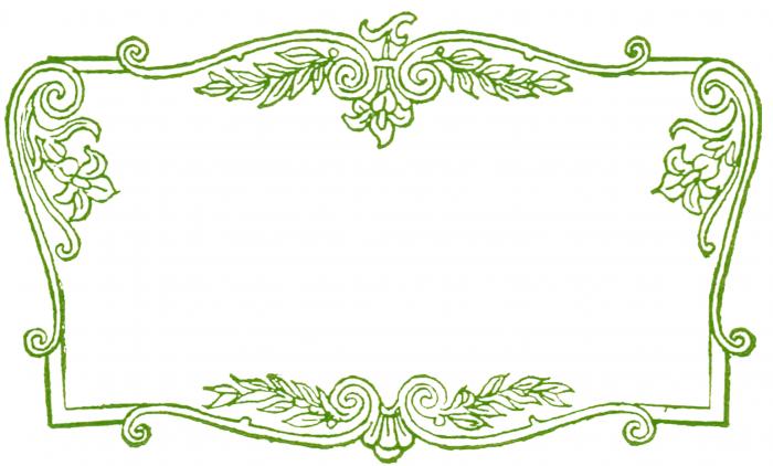 free clip art fancy scrolled frame green