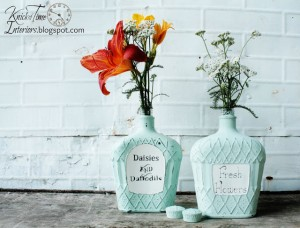 Painted Glass Bottles – {Mad About Mint}