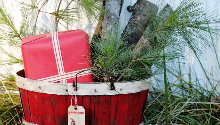 a Rustic Christmas Bushel Basket