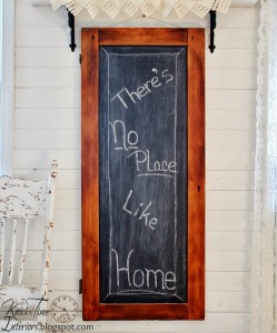 Repurposed Antique Cabinet Door into Chalkboard