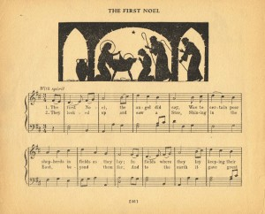 Antique Graphics Wednesday – Antique Christmas Music Pages with Silhouettes
