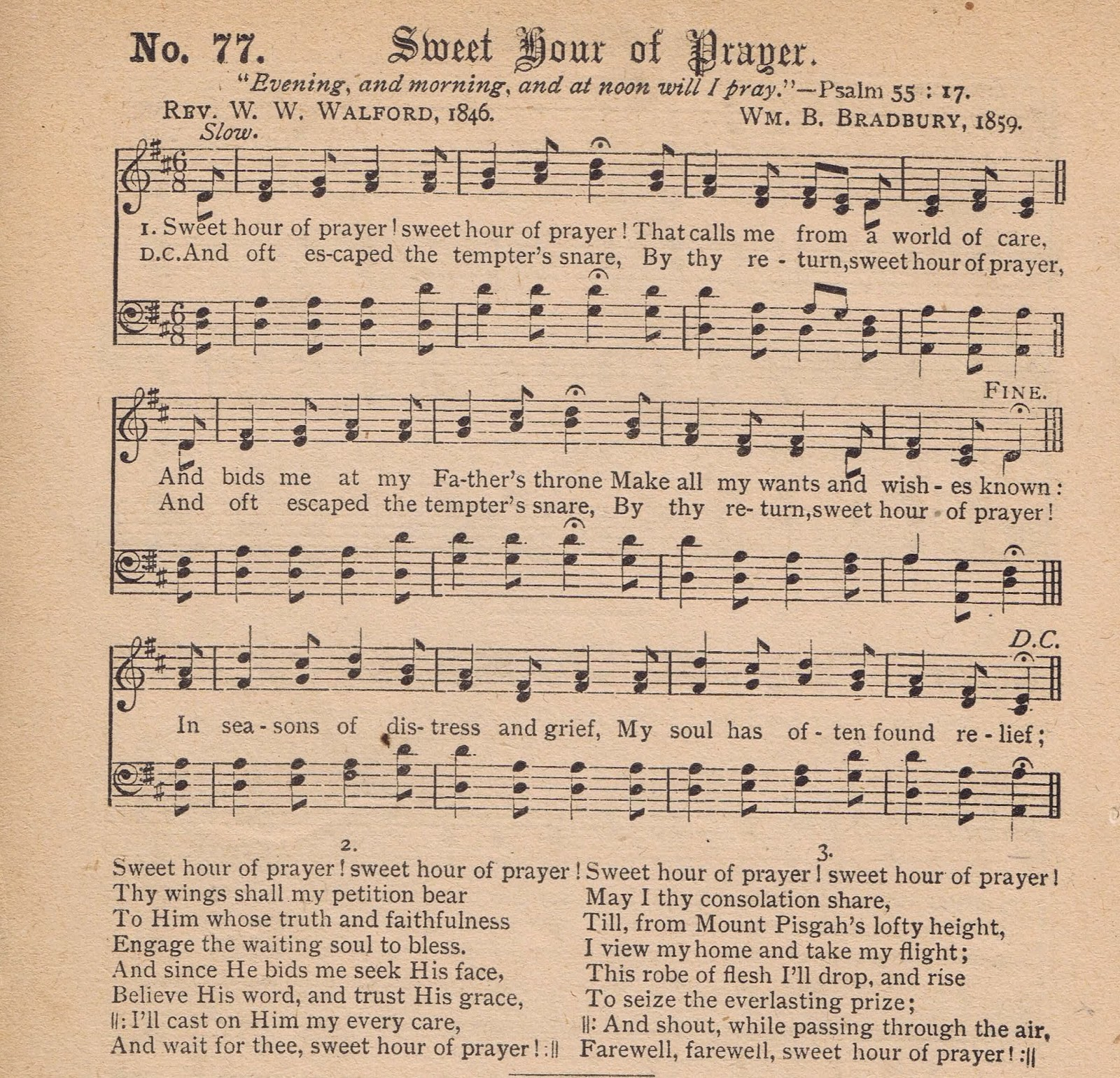 From The Ground Up Sheet Music With Lyrics: Printable Antique Hymn Page - Sweet Hour Of Prayer