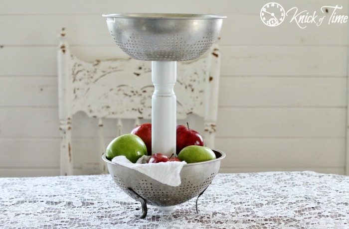 tiered stand from repurposed strainer