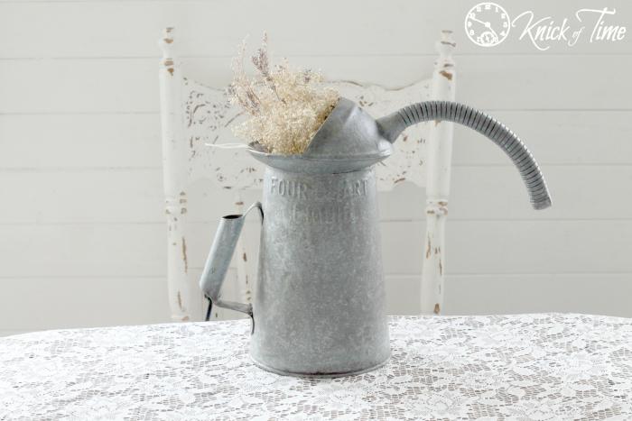 vintage galvanized oil pitcher