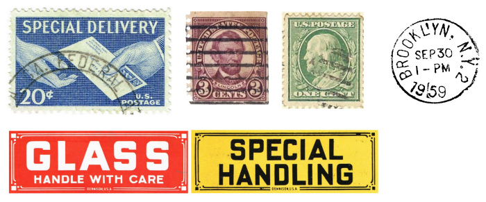 vintage postage stamps and shipping labels