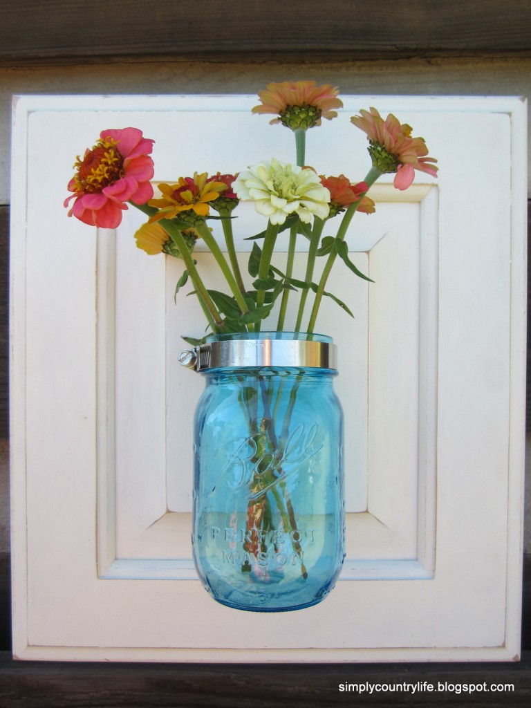 repurposed cabinet door canning jar vase