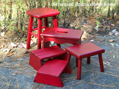 red painted benches Christmas decor