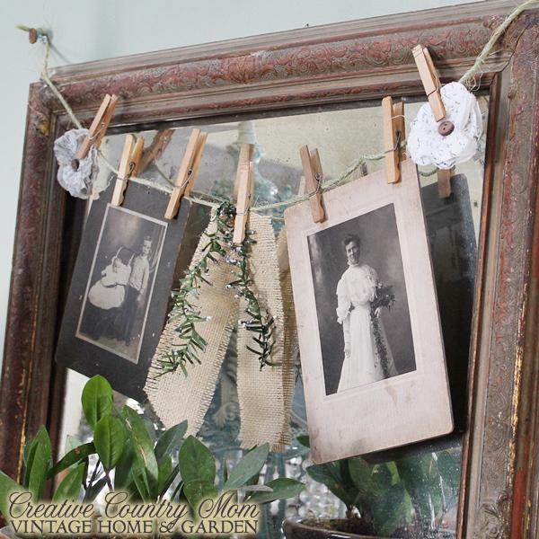 antique photos banner Christmas decor