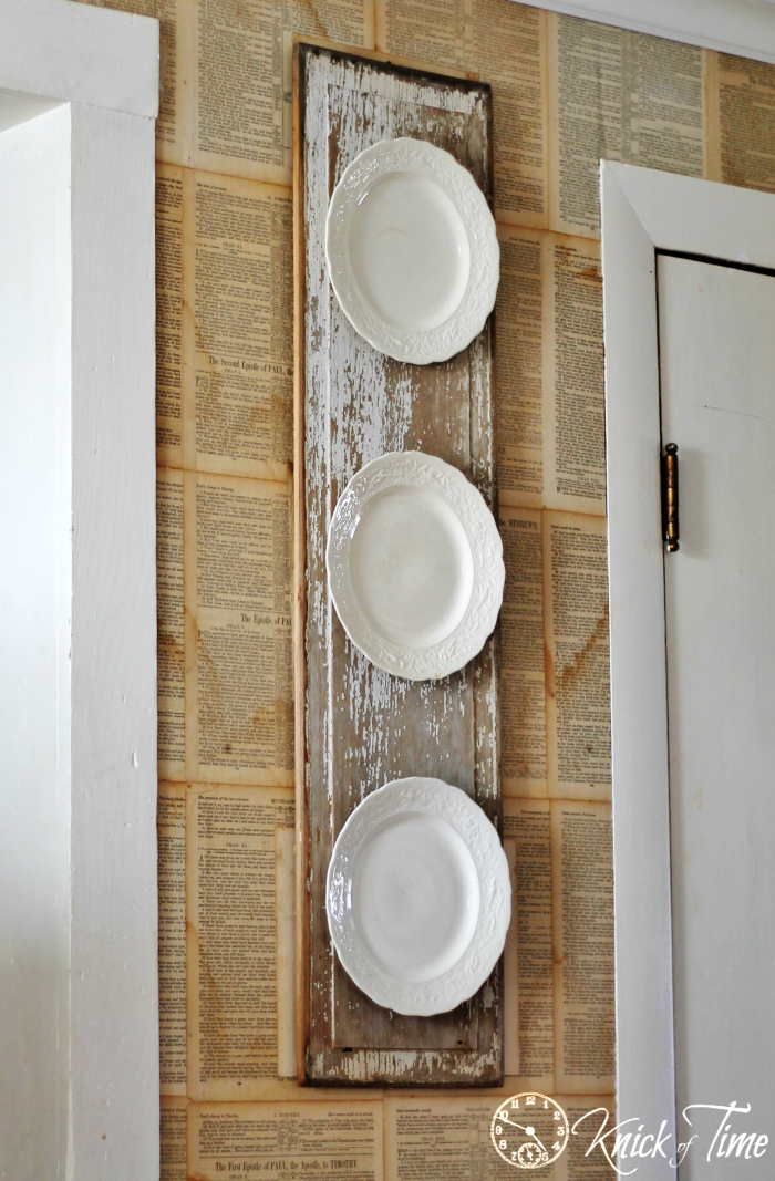 Chippy Wood And Vintage Plates Wall Display Knick Of Time