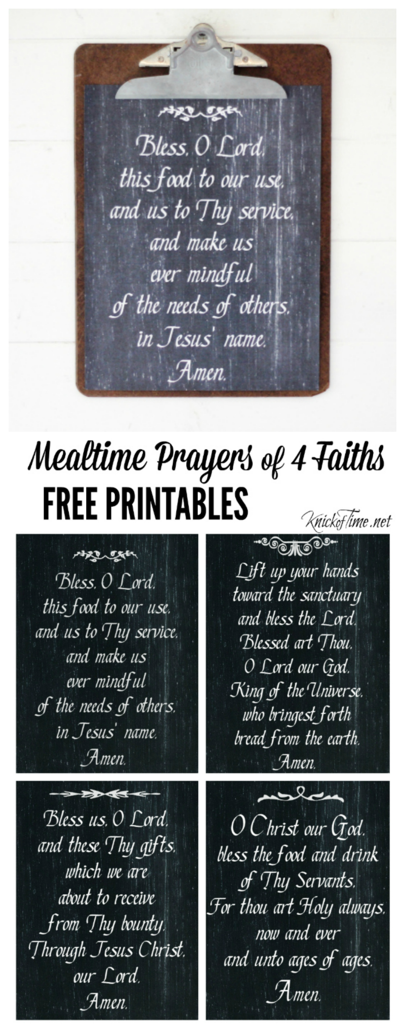 Chalkboard Art Printable Prayers from Knick of Time