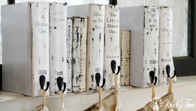 Recycle Old Books into a Christmas Books Stocking Hanger! Tutorial at KnickofTime.net