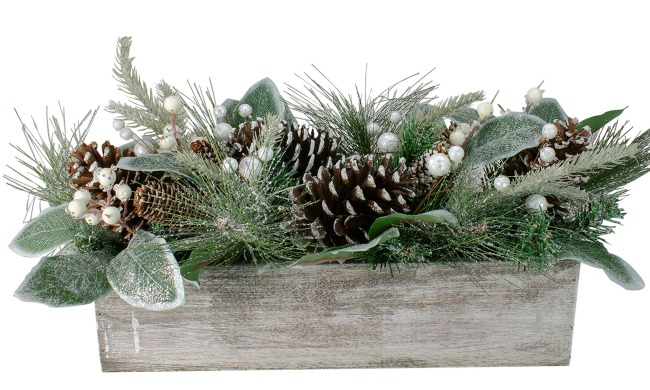 Pine Needle and Glitter Berries with Pine Cone Arrangement in a Rustic Wooden Box Centerpiece