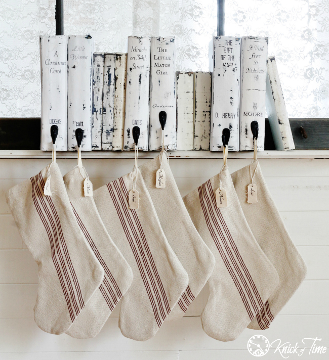 Faux Christmas Books Stocking Hangers - Tutorial via Knick of Time
