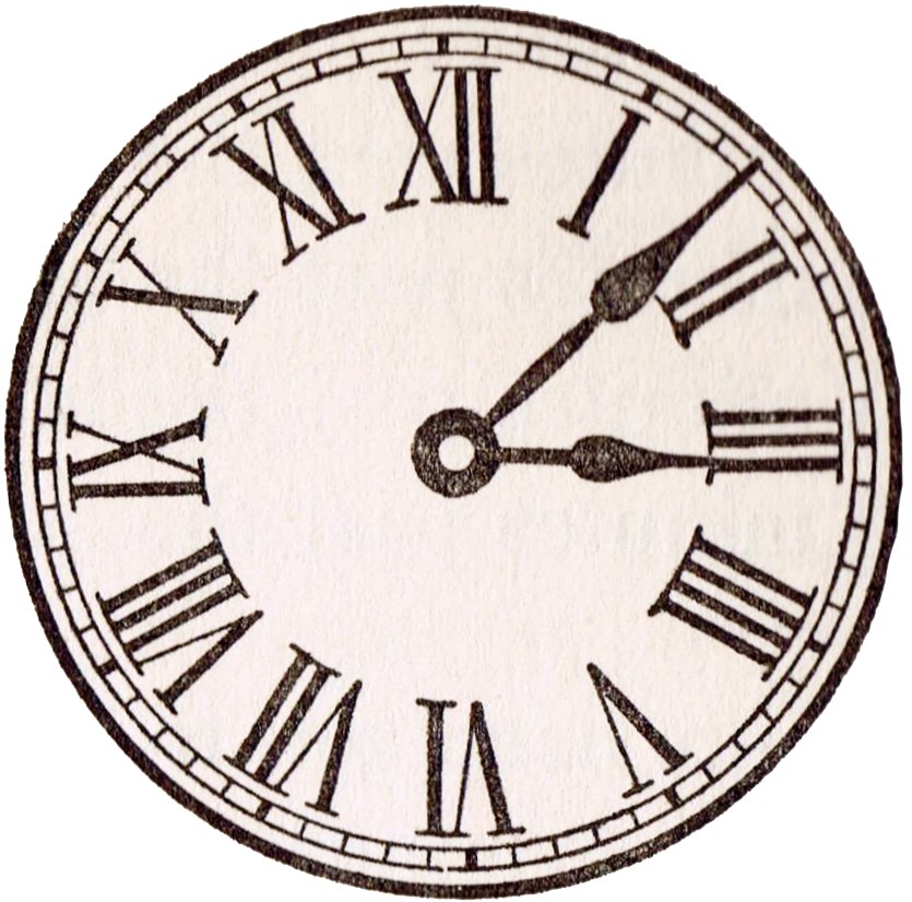 antique clock face Roman numerals copy