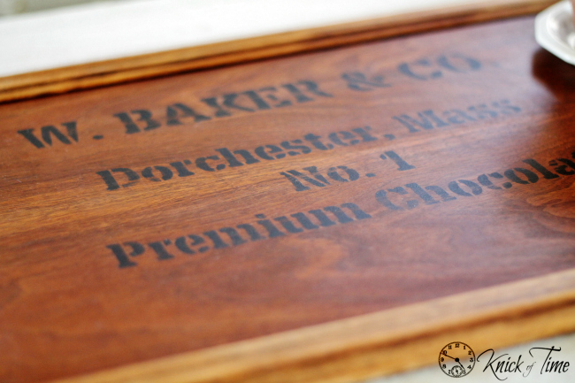 antique crate graphics on tray