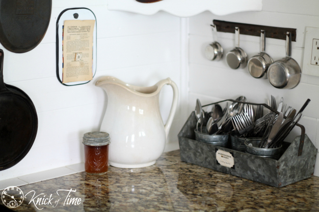antique ironstone pitcher in farmhouse kitchen