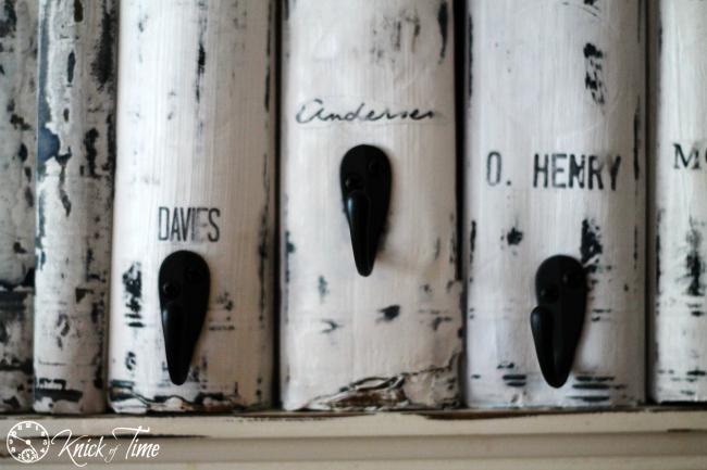 repurposed books with coat hooks - KnickofTime.net
