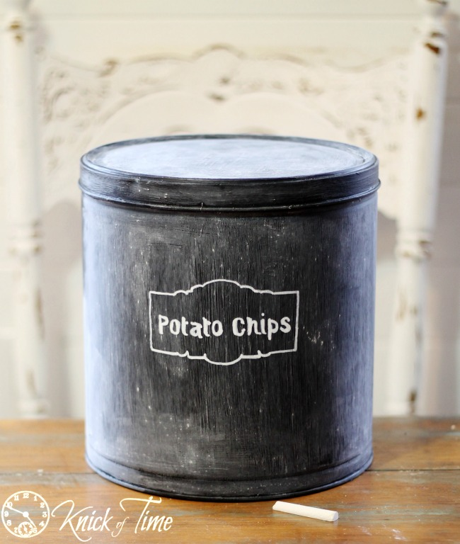 chalkboard tin can