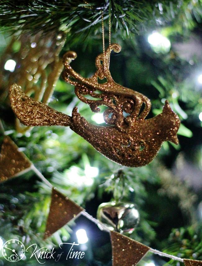 glitter ornaments bird