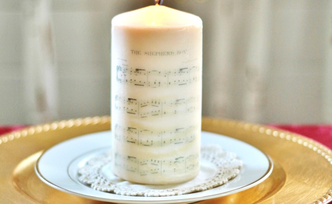 DIY Christmas Sheet Music Image Transfer on Candles