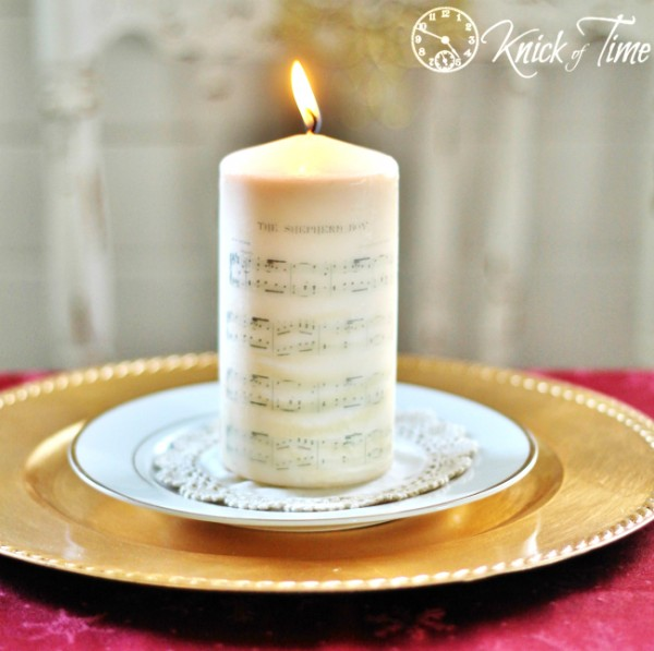 Christmas Sheet Music on Candle