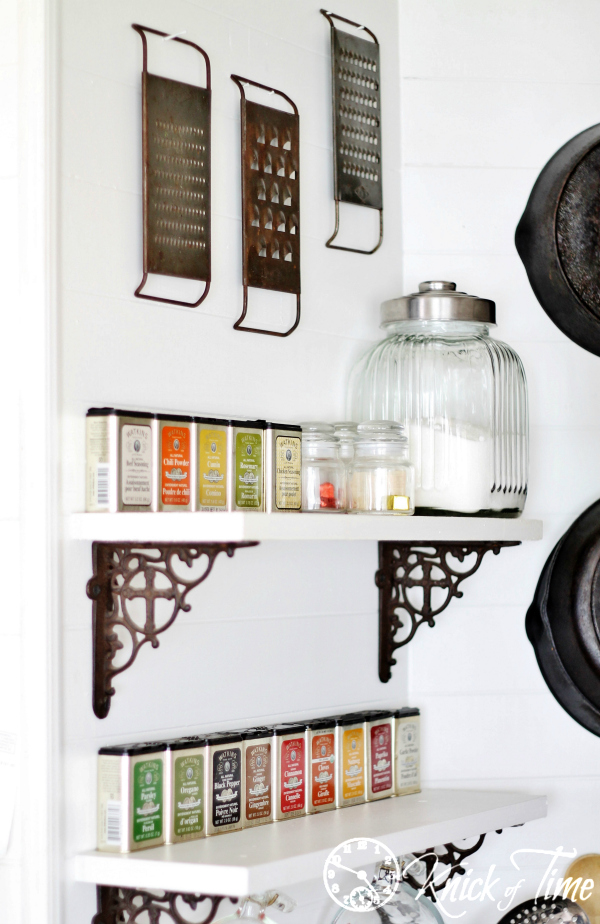 open shelves in farmhouse kitchen