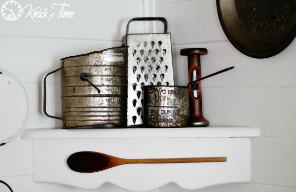 vintage kitchen measuring cups in farmhouse kitchen